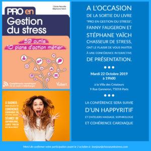 Soirée de présentation du livre : «Pro en gestion du stress» 22.10.19